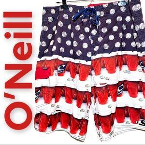 O'Neill Red Solo Cup Swim Board Shorts, 38
